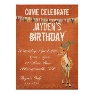 Amber Buck Retro Birthday Invitation