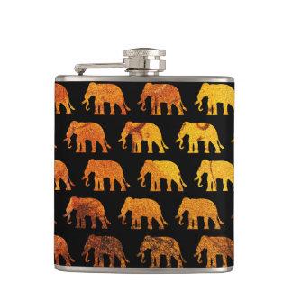 Amber elephants pattern custom background color hip flask