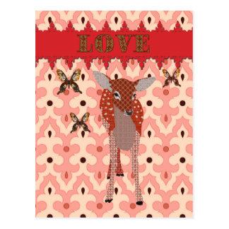 Amber Fawn Golddust Butterflies Pink Love Post Post Card