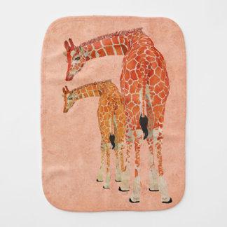 Amber Giraffes Pink Floral Burp Cloth
