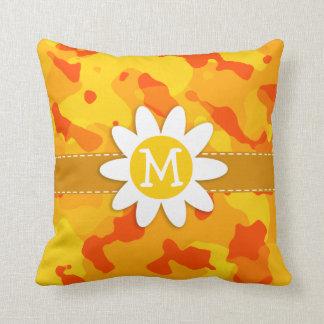 Amber Orange Camo Daisy Throw Pillows