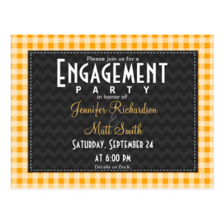 Amber Orange Gingham Engagement Party Postcard