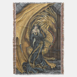 Amber Princess & Dragon Throw Blanket