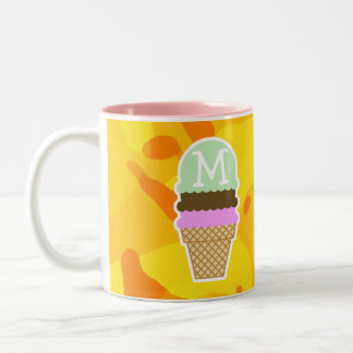 Amber Yellow Camo; Ice Cream Cone Two-Tone Coffee Mug