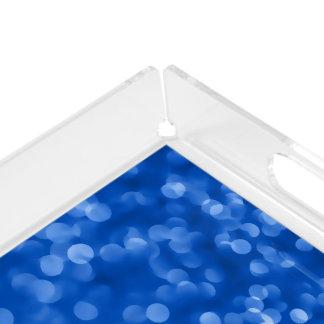 Ambient 4, Bokeh Blue designer Home decor art Acrylic Tray