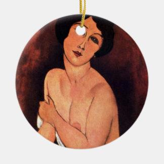 Amedeo Modigliani Large Seated Woman Round Ceramic Decoration