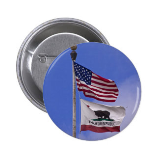 AMERICAN AND CALIFORNIA STATE flags 6 Cm Round Badge
