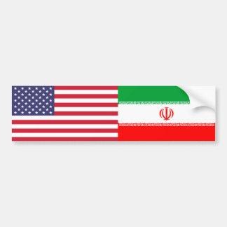 American and Iranian Flag Bumper Sticker
