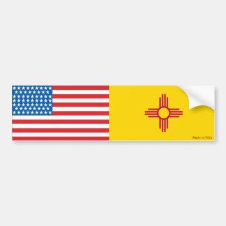 American and New Mexico Flag Bumper Sticker