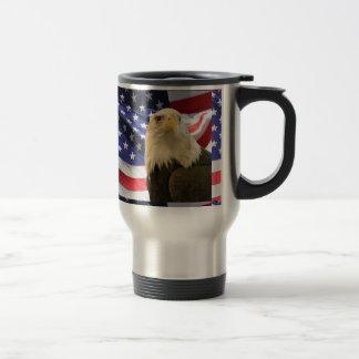 American Bald Eagle and Flag Travel Mug