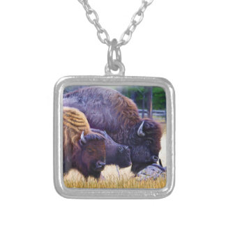 American Bison Family Silver Plated Necklace