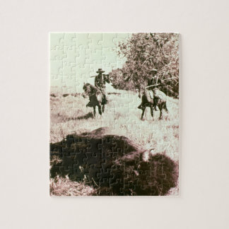American Bison Hunters (b/w photo) Jigsaw Puzzle