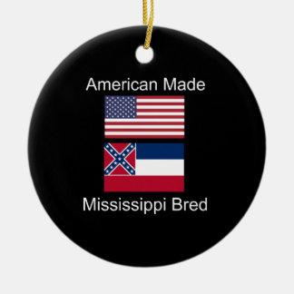 """American Born..Mississippi Bred"" Flag Design Christmas Ornament"