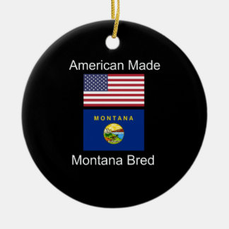 """American Born..Montana Bred"" Flags and Patriotism Christmas Ornament"