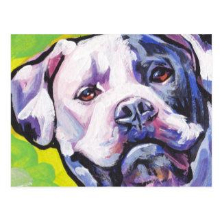 american bulldog Bright Colorful Pop Dog Art Postcard