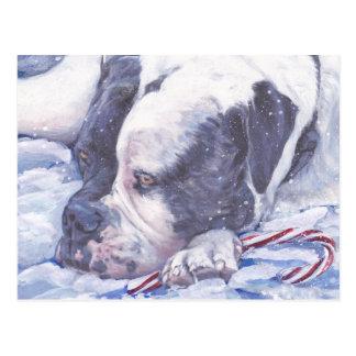American Bulldog Christmas postcard