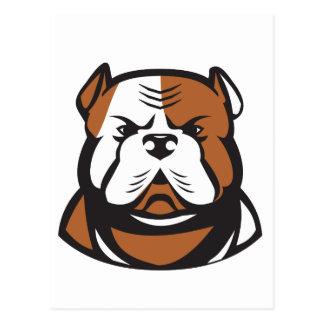 American Bulldog Head Front Retro Postcard