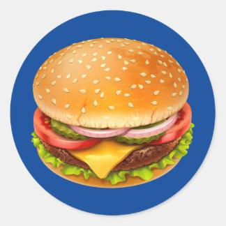 American Burger Round Stickers