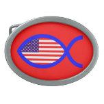 American Christian Fish Symbol Flag Oval Belt Buckle