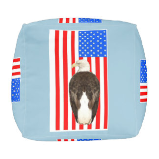 American Eagle And American Flag Pouf