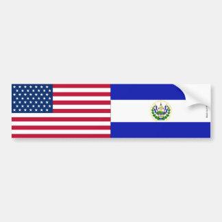 American & El Savadorian Flags Bumper Sticker