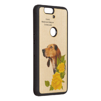 American English Coonhound and Yellow Roses Wood Nexus 6P Case