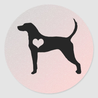 American English Coonhound Heart Stickers