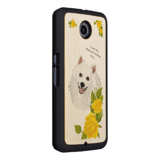 American Eskimo Dog and Yellow Roses Wood Phone Case