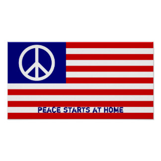 American Flag and Peace Sign Poster