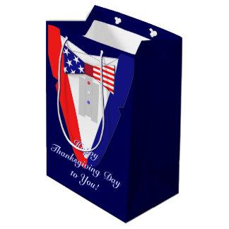 American Flag BowTie Tuxedo Happy Thanksgiving Day Medium Gift Bag