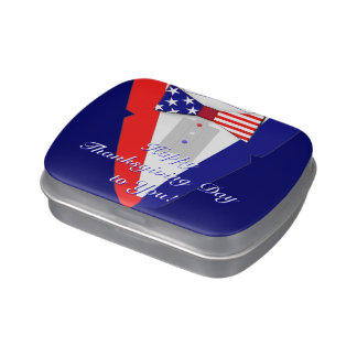 American Flag BowTie Tuxedo Happy Thanksgiving Day Jelly Belly Candy Tins