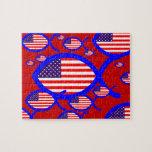 American Flag Christian Fish Symbol