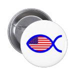 American Flag Christian Fish Symbol 6 Cm Round Badge
