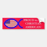 American Flag Christian Fish Symbol Bumper Sticker