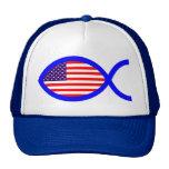 American Flag Christian Fish Symbol Cap