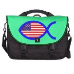 American Flag Christian Fish Symbol Laptop Shoulder Bag