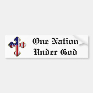 American Flag Cross2 Bumper Sticker