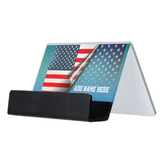 American Flag Desk Business Card Holder