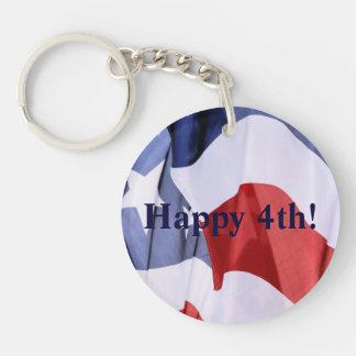 American Flag Happy 4th Key Ring