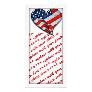 American Flag Heart Picture Card
