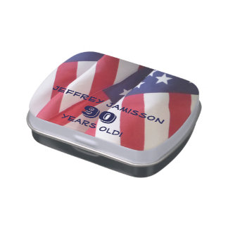 American Flag Jelly Belly Candy Tin 90th Birthday