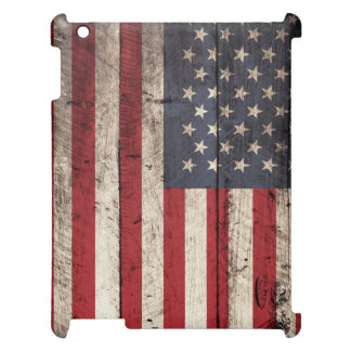 American Flag on Old Wood Grain Cover For The iPad