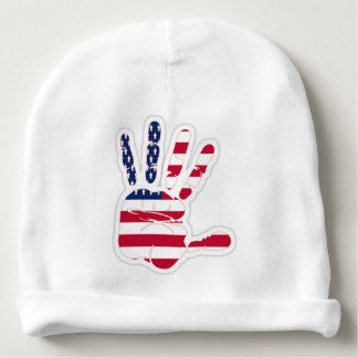 american flag on the widespread hand baby beanie