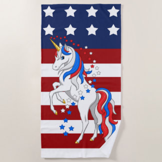 American Flag Patriotic Red White Blue Unicorn Beach Towel
