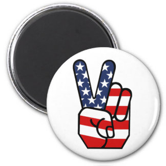 American Flag Peace Hand 6 Cm Round Magnet