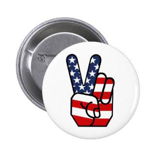 American Flag Peace Hand 6 Cm Round Badge
