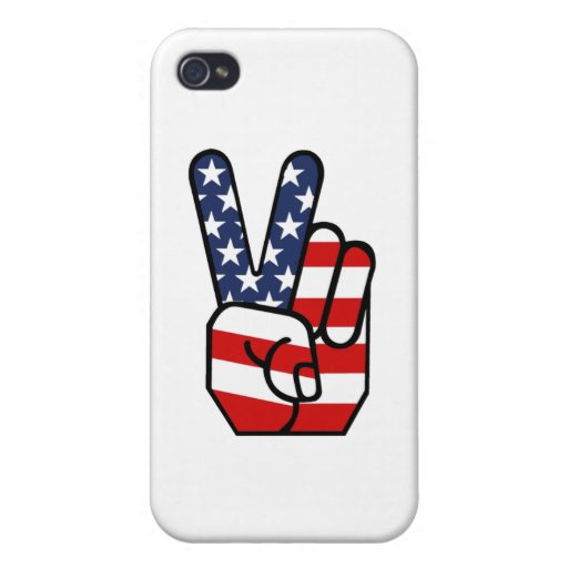 American Flag Peace Hand iPhone 4/4S Cases