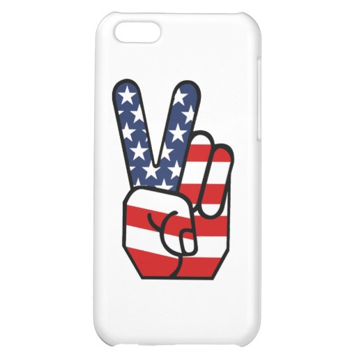American Flag Peace Hand iPhone 5C Covers