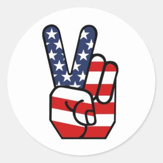 American Flag Peace Hand Round Sticker