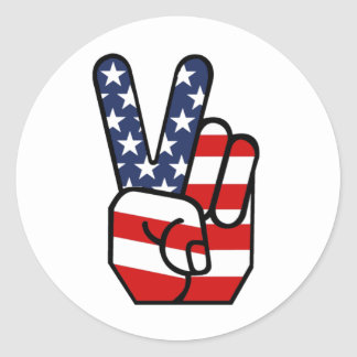 American Flag Peace Hand Round Stickers